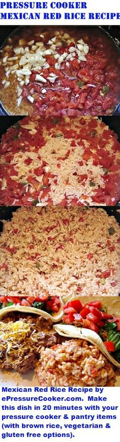 Pressure Cooker Recipes:  Mexican Red Rice Recipe by ePressureCooker.com.  Make this Mexican rice dish in 20 minutes using your pressure cooker and pantry items (less than 30 mins. for brown rice).  Includes brown rice, vegetarian and gluten free instructions.  Can be made in advance in quantity for a Cinco de Mayo party or to accompany a weeknight family meal.  Goes great with tacos, carnitas, fajitas, carne asada, enchiladas, flautas, chimichangas, burritos and tamales.