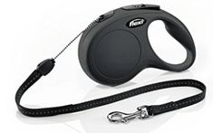 Flexi New Classic Retractable Dog Leash (Cord), 16 ft, Medium, Black - The classic, perfect Flexi New Classic M 16 ft cord leash can be customized with clever accessories and is ideal for medium dogs up to 44 lbs. Collar And Leash, Pet Collars, Cuir Rose, Medium Dogs, Classic Mini, Dog Leash, Pet Supplies, Small Dogs, Large Dogs