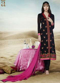 Enchanting Georgette Black Embroidered Work Churidar Designer Suit