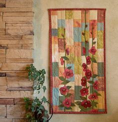 Hand painted fabric art quilt wallhanging by ArtQuiltsbyGretchen, $125.00