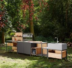 Outdoor Kitchen cooking modul - Designer Mobile kitchen units by VITEO ✓ Comprehensive product & design information ✓ Catalogs ➜ Get inspired now Moduler Kitchen, Kitchen Grill, Summer Kitchen, Kitchen Units, Outdoor Rooms, Outdoor Furniture Sets, Outdoor Decor, Küchen Design, Patio Design