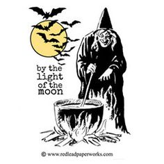 Halloween Rubber Stamp - By the Light of the Moon