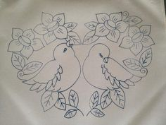 Christmas Embroidery Patterns, Bird Embroidery, Embroidery Transfers, Hand Embroidery Stitches, Hand Embroidery Designs, Baby Motiv, Bird Quilt, Wool Applique, Fabric Painting