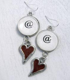 Hipster Geek Twitter Glass Enamel Heart Earrings by Studiomoonny