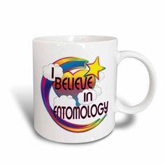 3dRose I Believe In Entomology Cute Believer Design, Ceramic Mug, 11-ounce