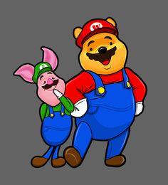 Winnie Pooh Mario and Piglet Luigi