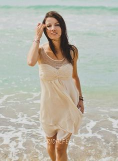 2016 Cream short chiffon beach bridesmaid dress. Illusion boat neckline highlighted with rows of shimmering sequins, sleeveless bodice with pleated detail, soft skirt shows sexy long legs. #custom wedding dresses#custom made prom dresses#custom made bridesmaid dresses#weddingdress#http://www.bridalfeel.com/illusion-boat-neck-sleeveless-short-beach-chiffon-bridesmaid-dress-367.html