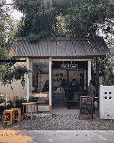 Image may contain: tree and outdoor Opening A Coffee Shop, Small Coffee Shop, Coffee Shop Bar, Cafe Shop Design, Coffee Shop Interior Design, Small Cafe Design, Outdoor Restaurant Patio, Cafe Japan, Coffee Shop Aesthetic