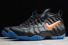 Nike Air Foamposite Pro Knicks Black Battle Blue-Total Orange 624041-010  Featuring a Black, Orange and Blue color combination which appears to feature New York Knicks vibes. This Foamposite Pro features a Black Foam shell with matching leather on the eyestay and heel. Orange covers the Swoosh logo and details on the tongue completed with Blue accents on the mini Swooshes and rubber outsole. Blue Color Combinations, Air Foamposite Pro, Foam Posites, New York Knicks, Blue Accents, Battle, Nike Air, Shell, Sneakers Nike