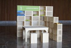 Crates for pop up stand or display.