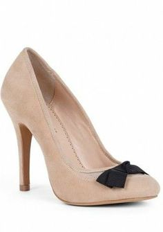 Anya Mesh Detail Pumps- very cute shoe...this could easily be duplicated with a plain nude heel and black shoe clip...