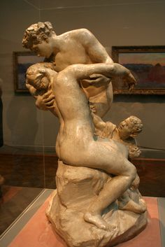 Aimé-Jules Dalou (ca. 1892) - Bacchus Consoling Ariadne, Plaster (!!).  The Art Institute of Chicago