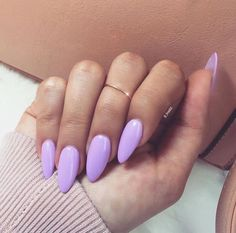 21 Almond Nail Ideas For Your Next Manicure - Wild About Beauty Lavender almond shaped nails - Easy Nail Designs Almond Shape Nails, Almond Acrylic Nails, Cute Acrylic Nails, Fun Nails, Nails Shape, Acrylic Spring Nails, Long Almond Nails, Perfect Nails, Gorgeous Nails