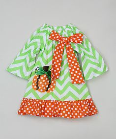 This Green & Orange Chevron Peasant Dress - Infant, Toddler & Girls by Tutus by Tutu AND Lulu is perfect! #zulilyfinds