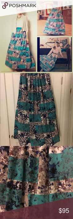 Beautiful anthropology skirt This is such a beautiful Anthropologie skirt  and I only worn it two times! Still in perfect condition by Mounlinette Soeurs. Waist measurement is 13 inches but is elastic so it can stretch. Length is 43 inches. 100% polyester ready for a new home! Anthropologie Skirts A-Line or Full