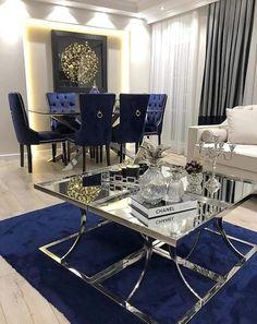 Small Home Interior .Small Home Interior Blue Living Room Decor, Elegant Dining Room, Luxury Dining Room, Luxury Living Room, Apartment Living Room, Glam Living Room, Dinning Room Decor, House Interior, Apartment Decor