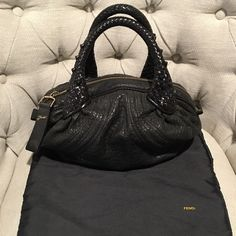 Fendi Nappa Leather Mini Spy Bag Authentic Fendi Braided Handle Mini Black  Nappa Leather Spy Bag 8a63bed7e69e2