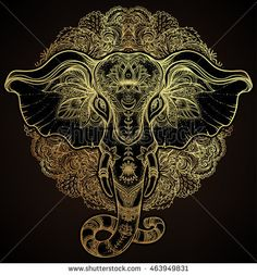 Beautiful hand-drawn tribal style elephant. Golden design with boho mandala patterns, ornaments. Ethnic background, spiritual art, yoga. Indian god Ganesha, Indian symbol. T-shirt print, posters.
