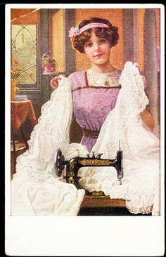 NEW HOME SEWING MACHINE c 1915 Vintage Advertising Postcard SEAMSTRESS Material