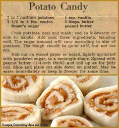 Old fashioned Potato Candy. Retro Recipes, Old Recipes, Vintage Recipes, Candy Recipes, Holiday Recipes, Cookie Recipes, Recipies, Christmas Recipes, Christmas Ideas