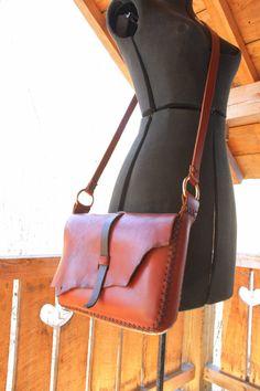 Leather messenger bag. iPad bag. man bag. hand sewn leather bag in cherrywood…