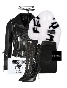 """""""Untitled #1517"""" by elinaxblack ❤ liked on Polyvore featuring R13, Fendi, Denham, Moschino and Sergio Rossi"""