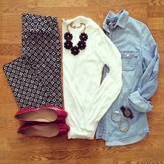 White Sweater, Old Navy Pixie Pants, Chambray Shirt, Pink Flats   #weekendwear #casualstyle #liketkit   www.liketk.it/1htbE   IG: @whitecoatwardrobe
