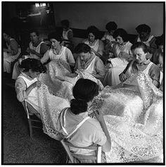 Women making lace on the island of Burano, Italy in 1954