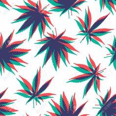 Illustration of Ganja Weed Marijuana Seamless Vector Pattern Background vector art, clipart and stock vectors.