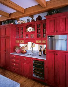 Red painted kitchen cabinets distressing | Home | Pinterest | Red paint,  Kitchens and House