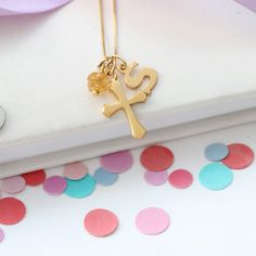 A gold November birthstone cross pendant necklace is a lovely personalised charm jewellery gift for a November birthday Birthstone Charms, Birthstone Necklace, Gemstone Necklace, Pendant Necklace, Topaz Jewelry, Charm Jewelry, Jewelry Gifts, Jewellery, November Birthday