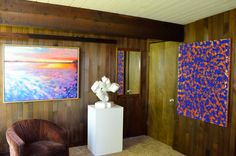 These three are so different from each other but compliment each other so nicely in the same room.  Painting by Scott Bennett acrylic on canvas. Sculpture by Andrea Grassi, marble. Jeffrey Collins, mixed media.