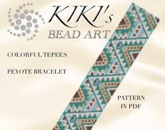 Peyote Pattern for bracelet - Colorful tepees ethnic inspired peyote bracelet pattern PDF instant download