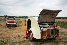 "It took three summers to complete this hand-built replica of an American 1940s Teardrop caravan. ""We use it as sleeping quarters at music festivals. I'm a drummer and I put the kit in it en-route."""