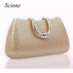 Wallmart.win 2017 New Crystal U Diamond clasp Clutch bags Glitter Silver Evening bags Gold Day clutch party purse Woman Wedding Handbag…