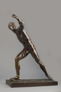 Bronze Borghese Gladiator - Fine late 18th century Bronze Sculpture of the Borghese Gladiator. Fine smooth patina . Size 55 cm. H Base 43 X 19 cm.