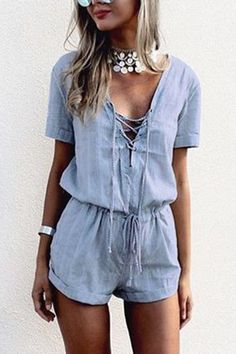 a8efa23bd4 Crossed Front Design Drawstring Waist Playsuit with Short Sleeves Front  Design