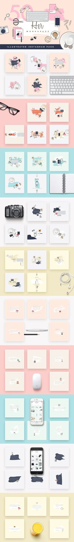 Her Workspace illustrated Insta pack by Polar Vectors on @creativemarket  #ad #affiliatelink #affiliate #font #design #templates #blogger #blog #creative #feminine #girlboss #instagram #socialmedia