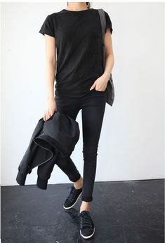 black tee, black jeans, black shoes