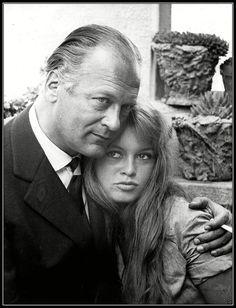 Curd Jürgens and Brigitte Bardot on the set of Et Dieu créa... la femme directed by Roger Vadim, 1956