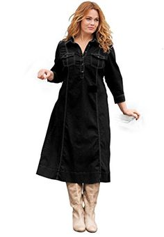 Plus Size Denim Dress Black Denim18 W >>> See this great product. Note: It's an affiliate link to Amazon.