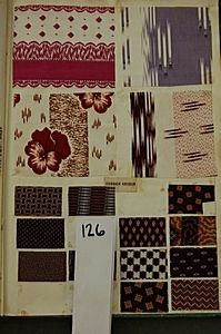 `Indiennes, 1855', a book of printed cottons, approx. 60 pages covered with blouse and dress fabrics, mainly in rich purple or brown grounds, mainly small geometrics and florals