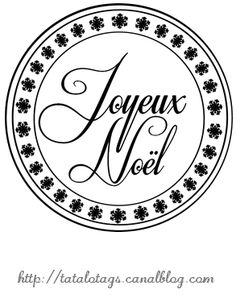 """""""Joyeux Noël"""" rond et flocons - Les étiquettes et tags de Tatalo"""