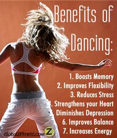 Health Benefits of Dancing ~ #1 is especially true for the aging mind...studies are showing the link between learning new dance steps and memory.