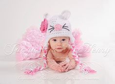 Little Miss Kitty Beanie in White Baby Pink by mamamegsyarnshoppe, $22.00