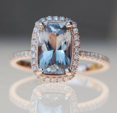 So pretty : 2.86ct Cushion Jasmine smokey peach champagne color change sapphire diamond ring 14k rose gold engagement ring