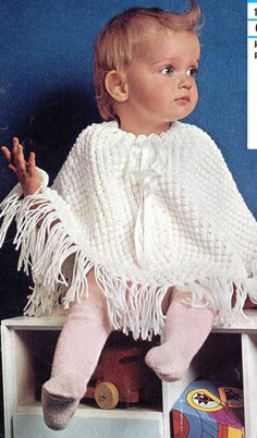Baby's Knitted Poncho A4 PDF Reformatted by NostalgiaPatterns