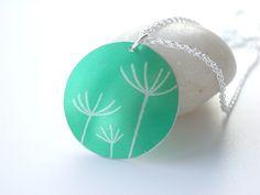 Dandelion seeds printed necklace pendant in jade green