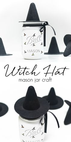 Painted Witch Hat Mason Jar - Halloween Crafts with Mason Jars - Mason Jar Crafts for Fall - Mason Jar Crafts for Halloween