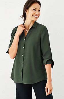 soft button-front top